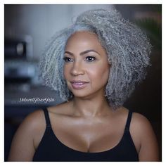 Silver black girls hairstyles, afro hairstyles, haircuts, grey hair i Grey Curly Hair, Silver Grey Hair, Curly Hair Styles, Natural Hair Styles, Black Hair, Salt And Pepper Hair, Ageless Beauty, Natural Curls, Great Hair