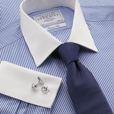 White & royal bengal stripe winchester dress shirt