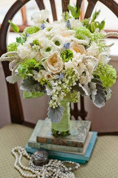 Love cream and green wedding flowers