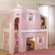 Shop for White Low-Loft Twin Playhouse Bed with Slide and Ladder. Get free delivery On EVERYTHING* Overstock - Your Online Furniture Outlet Store! Girls Bedding Sets, Girls Bedroom, Master Bedroom, Modern Bedroom, Bedroom Ideas, Kid Beds, Bunk Beds, White Loft Bed, Playhouse Bed