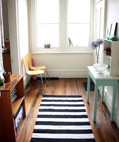 Black White Striped Area Rug