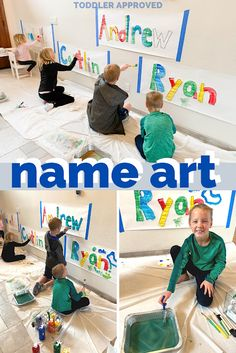 Toddler Approved Giant Name Art Painting with Kids Art Club Projects, Preschool Art Projects, Cool Art Projects, Preschool Themes, Preschool Crafts, Kids Crafts, Indoor Activities, Art Activities, Infant Toddler Classroom