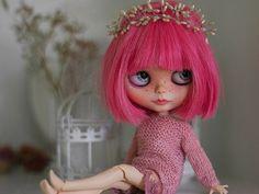 Pink Blythe doll Custom Blythe Doll Collection doll Blythe doll Handmade Doll OOAK doll OOAK Blythe doll Decoration doll by Master Diana E.