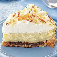 Double Coconut Cream Pie  This refreshing dessert hits the perfect notes from top to bottom, starting with that fresh whipped cream and ending with the chocolate crust. Save a slice for us.