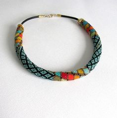 Statement necklace/ large geometric beaded necklace collar/ bead embroidery…