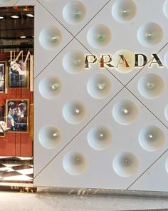 Close-up of exterior of Prada store by Double Stone Steel, IFC Mall, Shanghai Retail Interior Design, Interior And Exterior, Aluminium Cladding, Mall Stores, Retail Fixtures, Visual Merchandising, Store Design, Glass Door, Shanghai