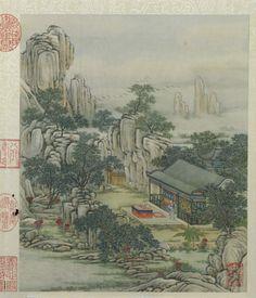 Chen Mei(陈枚) , 清 陈枚《圆明园山水楼阁图册》。