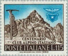 Italy - Founding centenary of the Italian Alpine Club, Postage stamp. Mountain Pictures, Postage Stamps, Mount Rushmore, Vintage World Maps, Club, Mountains, Poster, Travel, Ephemera