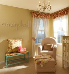 Love the custom drapery in this sweet, feminine #babygirl #nursery