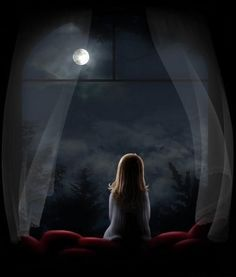 little girl looking out window at moon | FROM MY WINDOW :: Little Girl Looking at Moon picture by jade95_2010 ...