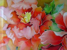 Batik Hand painted_Painting on silk_Red peony_Made to от FancySilk