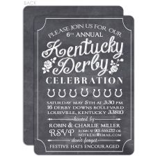 Chalkboard invitation for Kentucky Derby party