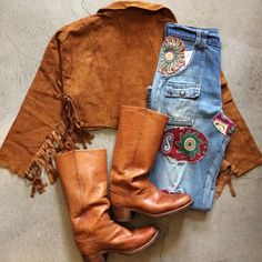 80's suede fringe bolero jacket, size M, $45+$16 domestic shipping. 70's patchwork denim bush pants, size 30x31, $145+$16 domestic shipping. 70's Frye boots, size 9, $89+$16 domestic shipping. Call 415-796-2398 to purchase or PayPal afterlifeboutique@gmail.com and reference item in post.