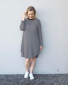 I don't know about you but I've never met a stripe I didn't love. This super comfy striped t-shirt dress is from the @stylingyou shop (gifted) I'm wearing a M & teamed it with a pair of cons for today's