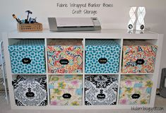 fabric covered bankers boxes. great idea for crafting storage!