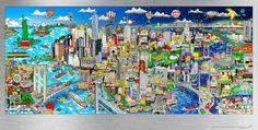 "Charles Fazzino ""Illusions of NYC"" 3-D Serigraph on Aluminum 38"" x 16.5"""