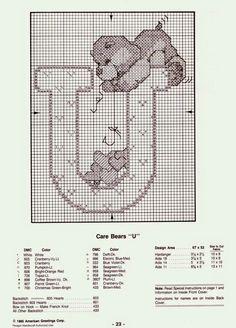 ♥Meus Gráficos De Ponto Cruz♥: Alfabeto dos Ursinhos Carinhosos em Ponto Cruz (T-Z)