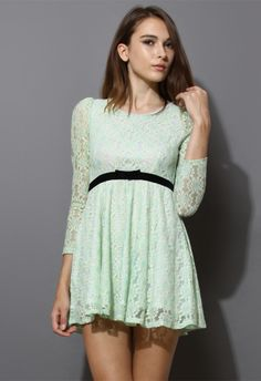 Pearly Collar Floral Lace Dress in Mint