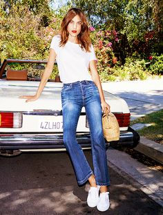 Alexa Chung for AG Jeans. These pants. Alexa Chung for AG Jeans. These pants. Ag Jeans, Moda Jeans, Outfit Jeans, Cropped Jeans, Crop Flare Jeans, Denim Pants, Shirt Outfit, Blue Jeans, Kick Flare Jeans