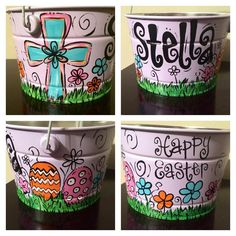 Hand-painted Easter Buckets by megdoodles on Etsy
