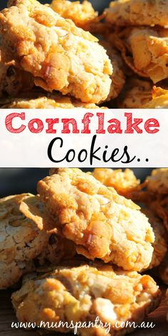 Quick and easy to make, these cornflake cookies are a treat in school lunchboxes! Best of all they're super simple in the Thermomix! Cornflake Cookies Recipe, Cornflake Recipes, Candy Cookies, Yummy Cookies, Chip Cookies, Beignets, Delicious Desserts, Dessert Recipes, Cookie Brownie Bars