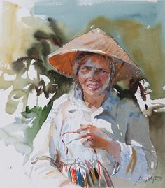 Street Vendor, China by Mary Whyte | American Watercolor Artist