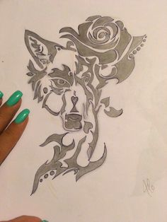 #drawing #rose #wolf