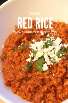 Quick and Easy Red Rice that is perfect for dinner tonight, Taco Tuesday or your next weekend get together!  #rice #redrice #easy #mexican #tacotuesday #sparklesnsprouts