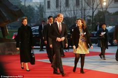 On show: The Duke of Cambridge arrives at the film premiere in Shanghai