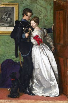 Sir John Everett Millais P.R.A. The Black Brunswicker. 1860. Millais was one of four members of The Artists Rifles to be elected as President of the Royal Academy http://en.wikipedia.org/wiki/Artists_rifles The model was Charles Perugini's wife, Kate, who was the widow of Charles Allston Collins, and the daughter of Charles Dickens.