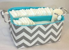 XLA Diaper Caddy with 2 Sections 13x11x7 Fabric by Creat4usKids