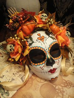 Fall Harvest Mask Day of the Dead Bat and Heart by HikariDesign, $150.00