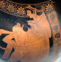 Helen of Sparta (Helen of Troy) kidnapped by Theseus. Detail of an amphora of Euthymides, 5th century BCE. Article on Helen: http://www.english.illinois.edu/maps/poets/g_l/hd/abouthelen.htm