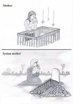 A mother and be mother in Syria Children Of Syria, Save Syria, Help Syria, If I Can Dream, Satirical Illustrations, Anime Muslim, Sad Pictures, Dear Mom, Islam Religion