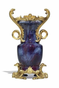 A Louis XV Ormolu-Mounted Chinese Flambé-Glazed Porcelain Vase. The Mounts Attributed to Jean-Claude Chambellan Duplessis, Circa 1755, the Porcelain, Second Quarter 18th Century