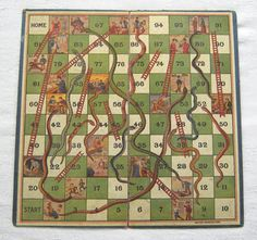 A late Victorian or Edwardian The Oriental Pastime of Snakes Ladders - The Latest Improved Edition board only British Manufacture c 1890-1914 The