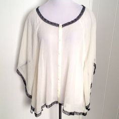 {Boho} Cream & Black Lace Blouse XL Like new. Beautiful.  Hard to describe lol. Full sleeves. Batwing? Butterfly sleeve? poncho? Unique for sure Allen B. Tops Blouses