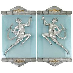 Pair of Gori Art Deco Flapper Dancer, Silver Finished Sconces | From a unique collection of antique and modern wall lights and sconces at https://www.1stdibs.com/furniture/lighting/sconces-wall-lights/