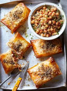 Crunch into these easy sweet potato, feta and chorizo pies. They're wrapped in crisp filo pastry and only take 15 minutes to assemble before baking! New Recipes, Dinner Recipes, Gourmet Recipes, Filo Pastry, Savoury Baking, Bread Baking, Susan Recipe, Chorizo, Delicious Magazine