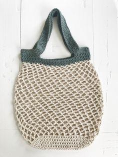 Netop – hæklet net – FiftyFabulous - Best Home Idea Crochet Stars, Love Crochet, Diy Crochet, Crochet Amigurumi Free Patterns, Crochet Stitches, Knitting Patterns, Knit Basket, Diy Tote Bag, Net Bag