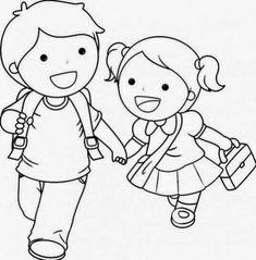 Colorear El Dibujo Niño Y Niña Para Colorear Julio Dibujos