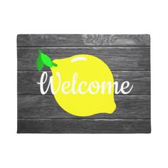 """#Lemon and Faux Wood """"Welcome"""" Door Mat - #country gifts style diy gift ideas"""