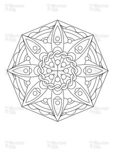 Printable Mandala Download - Abstract Coloring Book Page - Digital Scrapbook Clipart - Graphic Line Art