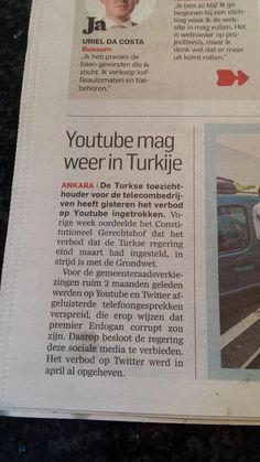 Youtube mag weer in turkije. Algemeendagblad 4 juni 2013