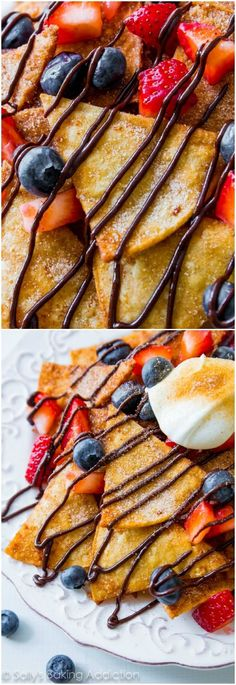 The BEST Dessert Nachos with homemade chocolate sauce, whipped cream, fresh fruit, and lots of cinnamon-sugar!