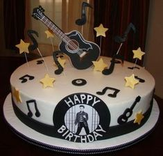 Elvis on Cake Central Guitar Birthday Cakes, Elvis Birthday, Guitar Cake, 18th Birthday Cake, Birthday Cakes For Men, Music Themed Cakes, Music Cakes, Bolo Elvis Presley, Beautiful Cakes
