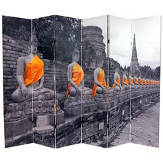 If you need some privacy this golden Buddhas room divider can give it to you in style. Standing 6 feet high, the high-quality photographs are printed on strong canvas and stretched over lightweight frames to make a stunning six-panel room divider.