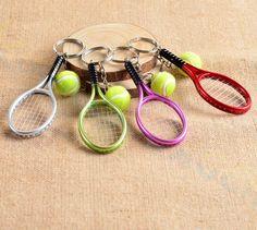 400pcs Tennis bag Pendant plastic mini tennis racquet key ring small Ornaments sport keychain fans souvenirs key chain gifts