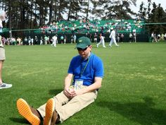 CLASS! golf fan Chris Donaldson Duffnering in front of Jason Duffner at the 2013 US Masters!  I love to go Duffnering!!!