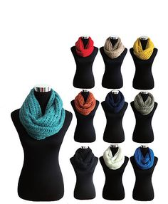 Knit Warm Infinity Scarf Neckwarmer in 10 Colors